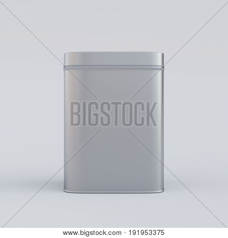 Closed aluminum box with shadow, 3D rendering