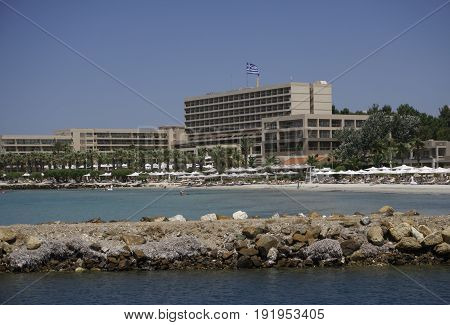 Halkidiki, Greece - June 10 2017: Sani luxury hotel resort view. Day view of hotel complex at Sani resort in Kassandra Chalkidiki peninsula.