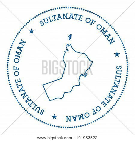 Oman Vector Map Sticker. Hipster And Retro Style Badge With Oman Map. Minimalistic Insignia With Rou