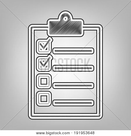 Checklist sign illustration. Vector. Pencil sketch imitation. Dark gray scribble icon with dark gray outer contour at gray background.