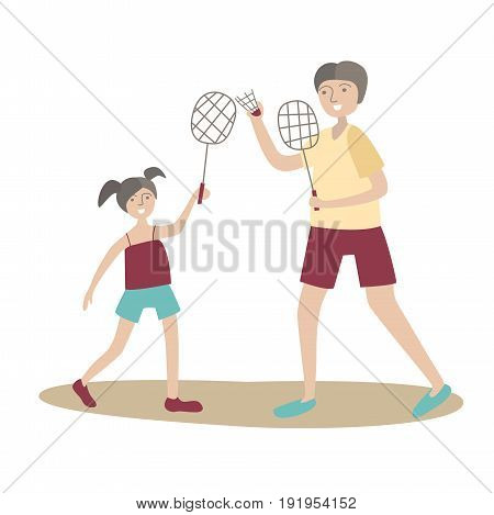 Dad and daughter play badminton. Family Sports and physical activity with children, joint active recreation. Vector illustration in flat style, isolated on white background.