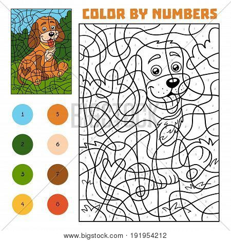 Color By Number For Children, Dog