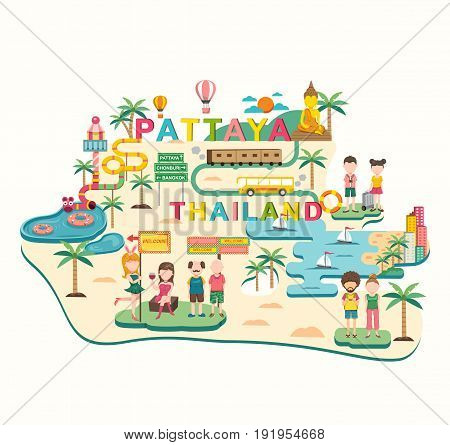 Pattaya the popular place in Thailand traveling all in colorful flat cartoon design illustration vector