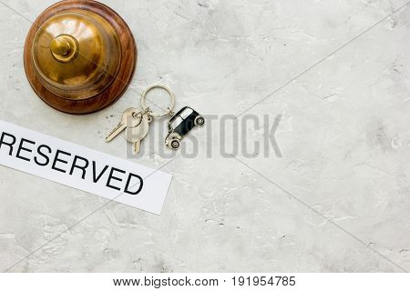 Booking Hotel Room, Ring And Keys Stone Desk Background Top View Mock Up