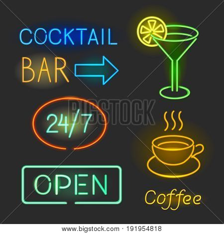 Colorful glowing neon lights graphic design signs on black background.