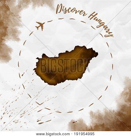 Hungary Watercolor Map In Sepia Colors. Discover Hungary Poster With Airplane Trace And Handpainted