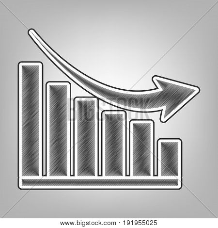Declining graph sign. Vector. Pencil sketch imitation. Dark gray scribble icon with dark gray outer contour at gray background.