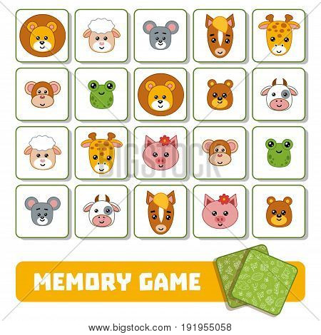Memory Game For Children, Cards With Animals