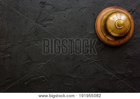 Hotel Reception Desk With Ring Dark Table Background Top View Mockup