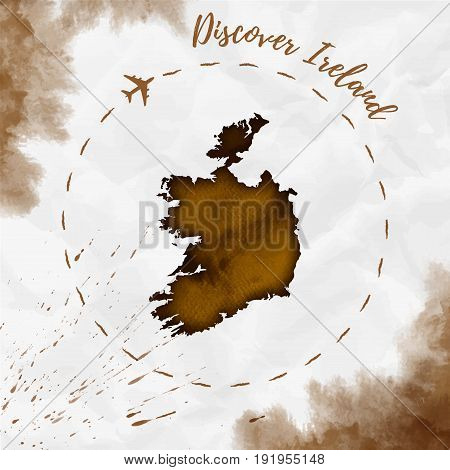 Ireland Watercolor Map In Sepia Colors. Discover Ireland Poster With Airplane Trace And Handpainted