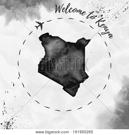 Kenya Watercolor Map In Black Colors. Welcome To Kenya Poster With Airplane Trace And Handpainted Wa