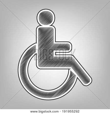 Disabled sign illustration. Vector. Pencil sketch imitation. Dark gray scribble icon with dark gray outer contour at gray background.