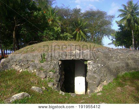 Japanese pillbox, Micro Beach, Saipan A Japanese pillbox at Micro Beach, Saipan is just one of the numerous relics of World War 11 in Saipan, Northern Mariana Islands