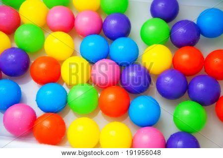 Multicolored balls for children's fun. Background