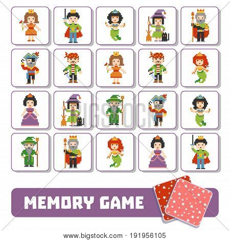 Memory Game For Children, Cards With Fairy-tale Characters