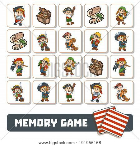 Memory Game For Children, Cards With Pirate Characters
