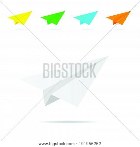 paper airplane set illustration in colorful on white