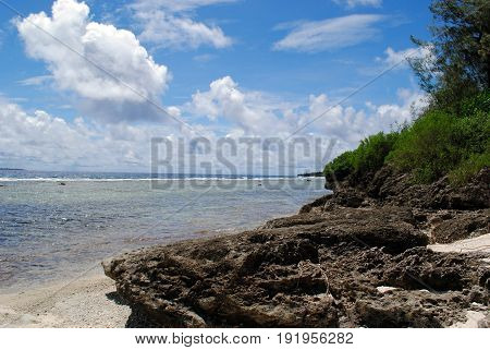 Rocky beach shores, Coral Ocean Point, Saipan Coastal view of beautiful rock formations at the Coral Ocean Point in Saipan, Northern Mariana Islands