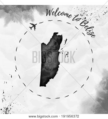 Belize Watercolor Map In Black Colors. Welcome To Belize Poster With Airplane Trace And Handpainted