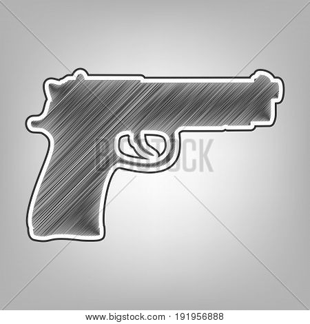 Gun sign illustration. Vector. Pencil sketch imitation. Dark gray scribble icon with dark gray outer contour at gray background.