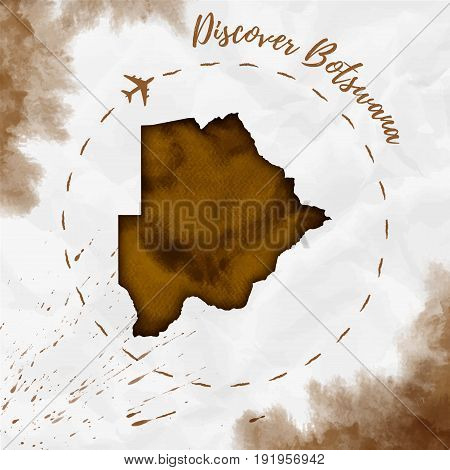 Botswana Watercolor Map In Sepia Colors. Discover Botswana Poster With Airplane Trace And Handpainte