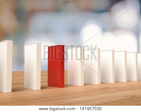 Red Domino For Leadership Concept