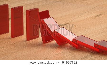 3d rendering red dominoes falling on wooden background