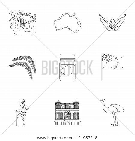 National symbols of australia. Web icon on Australia theme.Australia icon in set collection on outline style vector symbol stock web illustration.