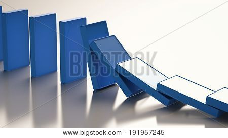 3d rendering blue dominoes falling or collapse
