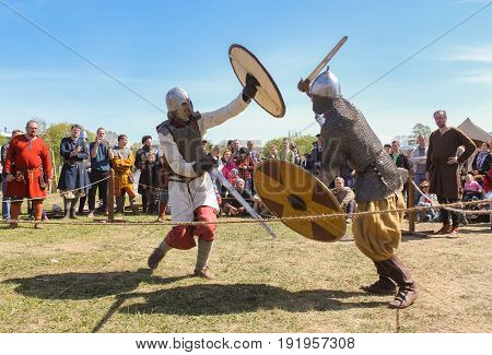 St. Petersburg Russia - 28 May, Battle of the ancient Vikings in armor,28 May, 2017. Knight tournament at the festival of ancient Vikings in St. Petersburg.