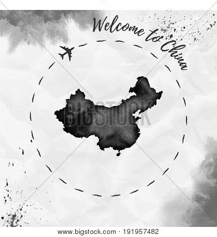 China Watercolor Map In Black Colors. Welcome To China Poster With Airplane Trace And Handpainted Wa