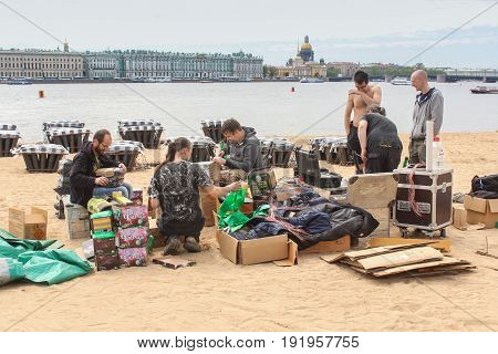 St. Petersburg Russia - 28 May, Pyrotechnics are preparing salutes on the shore,28 May, 2017. Famous sightseeing places of St. Petersburg for tourists.