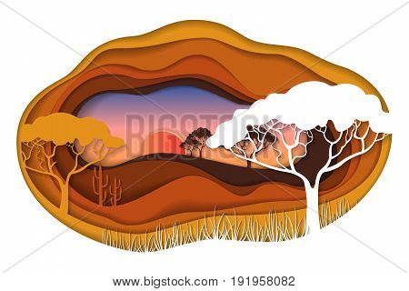 Paper art carving with African landscape. Safari park. Cut style. Vector illustration.