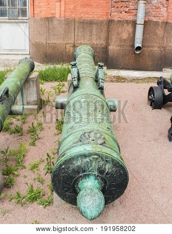 St. Petersburg Russia - 28 May, Bronze trunk of the siege gun of the first half of the 18th century,28 May, 2017. Military History Museum of combat equipment in St. Petersburg.