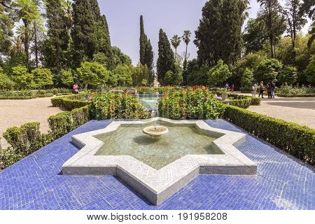 Jnan Sbil (Bou Jeloud Gardens) ancient city Royal park near old Medina in Fez Morocco.