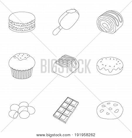A set of chocolate sweets. Chocolate products for people. Chocolate desserts icon in set collection on outline style vector symbol stock web illustration.