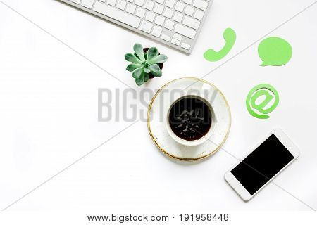 Client Support Service Workdesk With Mail Signs And Mobile White Background Top View Mockup