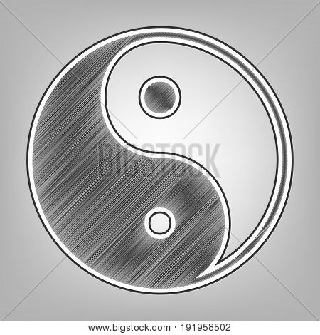 Ying yang symbol of harmony and balance. Vector. Pencil sketch imitation. Dark gray scribble icon with dark gray outer contour at gray background.