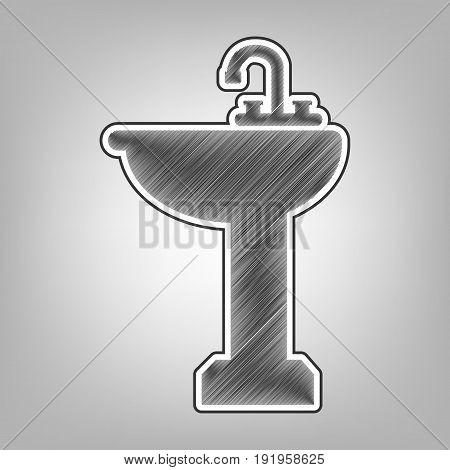 Bathroom sink sign. Vector. Pencil sketch imitation. Dark gray scribble icon with dark gray outer contour at gray background.