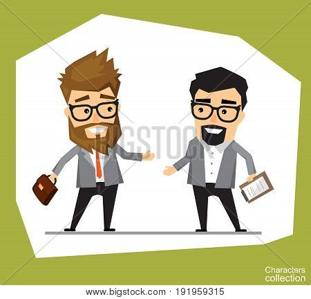 The meeting of two businessmen and business handshake. A young man in a business suit holds out his hand in greeting to the partner. Handshake of two men. Stock vector illustration of handshake