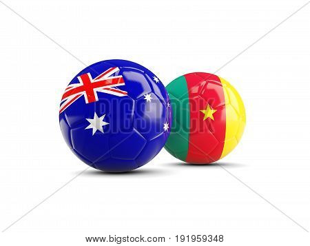 Two Footballs With Flags Of Australia And Cameroon Isolated On White