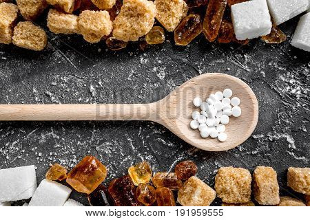Sugar Lumps For Sweet Food Cooking On Kitchen Dark Table Top View Pattern