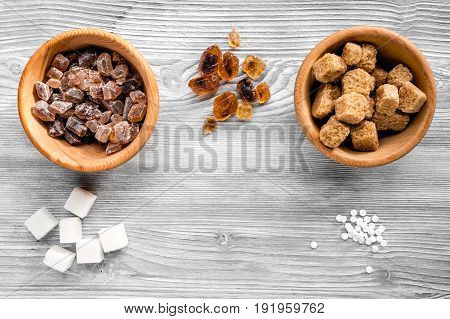 Lumps Of Sugar For Sweets On Gray Kitchen Table Background Top View Mock Up