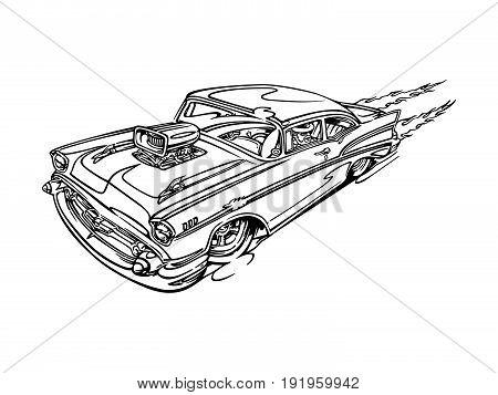 classic retro hot-rod cars, isolated on background. cartoon Vector Illustration design