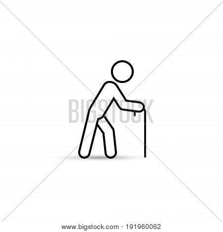 Old man vector outline icon simple silhouette isolated illustration.