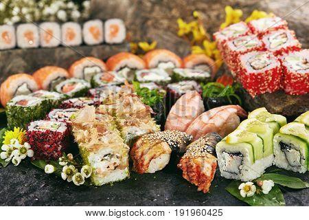Japanese Sushi Set - Various Maki Sushi Roll and Nigiri Sushi. Japanese Cuisine and Natural Flower Concept