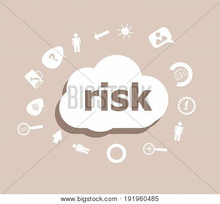 Text Risk. Finance Concept . Icons Set For Cloud Computing For Web And App