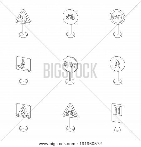 Set of road signs. Signs of prohibition, permission, priority. Road signs icon in set collection on outline style vector symbol stock web illustration.