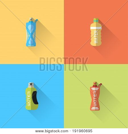 Vector set of flat sport bottles with long shadow on the color background.