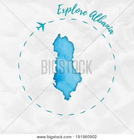 Albania Watercolor Map In Turquoise Colors. Explore Albania Poster With Airplane Trace And Handpaint